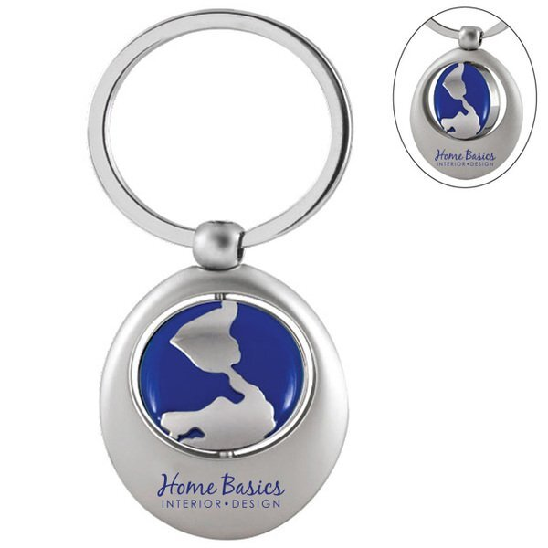 Swivel Blue Globe Keychain