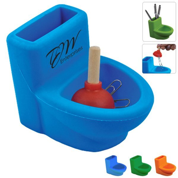 Silicone Toilet w/Plunger Desk Set