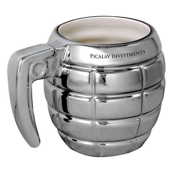 Silver Ceramic Grenade Mug