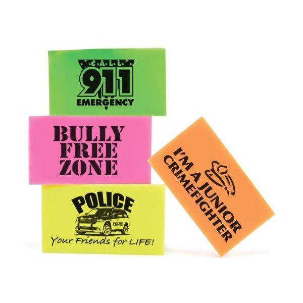 Neon Safety Message Erasers, Stock