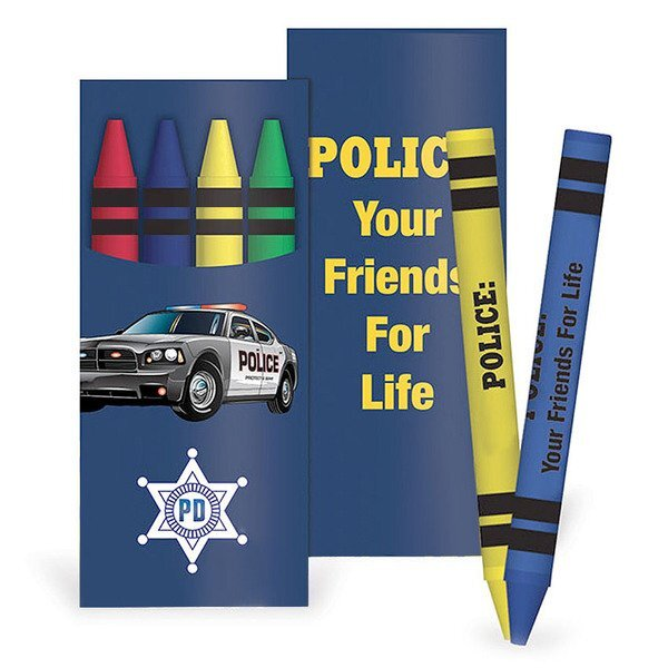Police Your Friends For Life with Vehicles Full Color Crayon Pack, Stock