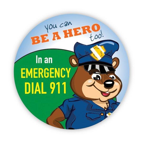 In an Emergency Dial 911 Sticker Roll, Stock