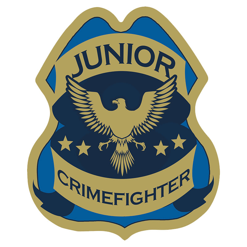 Junior Crimefighter Foil Sticker Badge, Stock