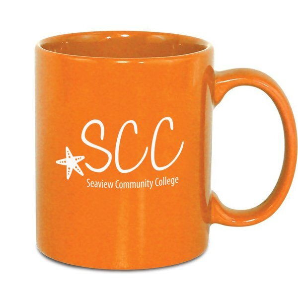 Classic C-Shaped Handle Ceramic Mug, 11oz. - Orange & Lime