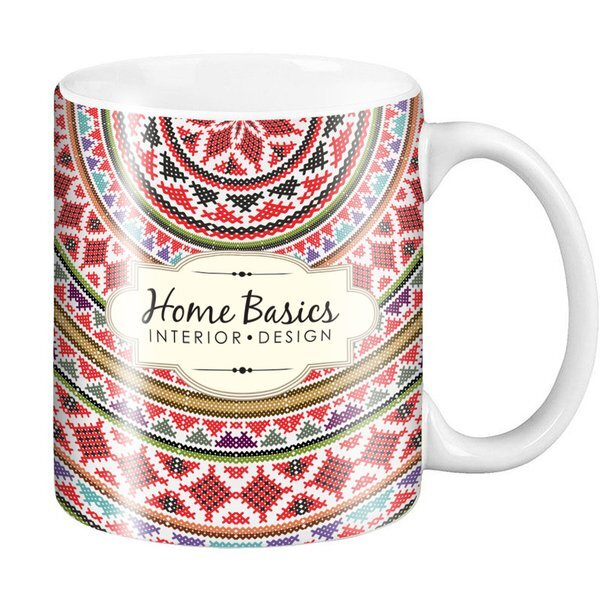 Classic C-Shaped Handle Ceramic Mug, 11oz. w/ Full Color Imprint