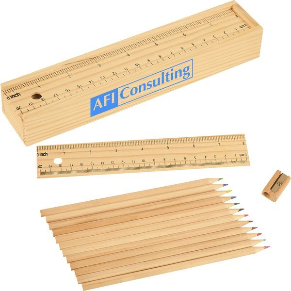 Colored Pencil Set In Wooden Ruler Box