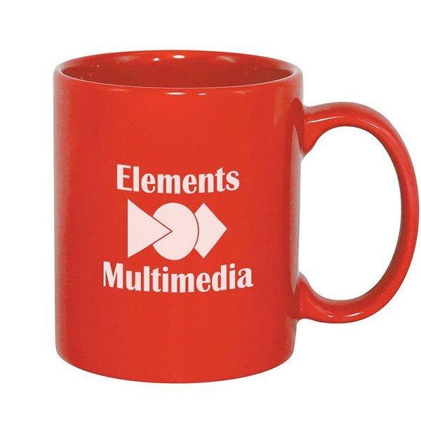 Classic C-Shaped Handle Ceramic Mug, 11oz. - Red