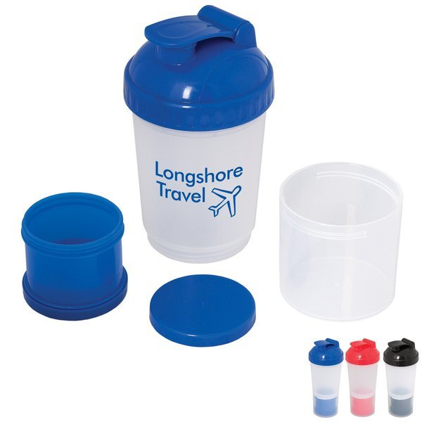 Fitness Shaker Bottle w/ Compartments, 20oz.