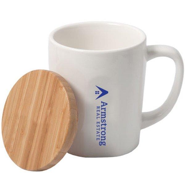 Chic Ceramic Mug w/ Bamboo Lid, 15oz.