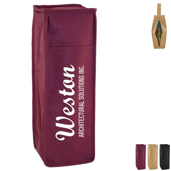 Insulated Single Bottle Non Woven Wine Tote