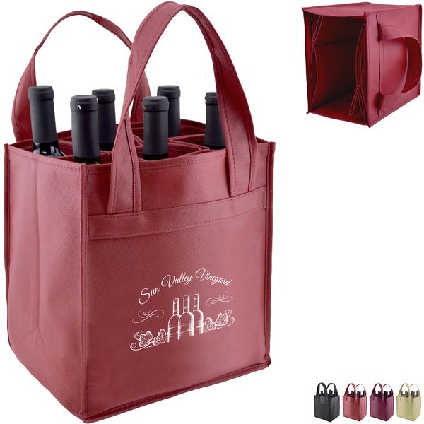 Convertible Six Bottle Non Woven Wine Tote
