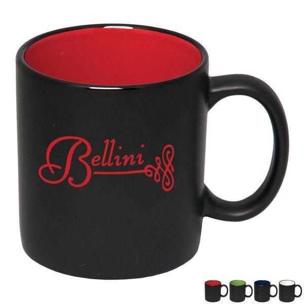 Two-Tone Black Matte Ceramic Mug, 15oz.