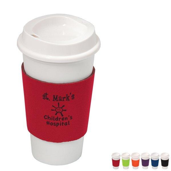 NYC Plastic Cup w/ Neoprene Sleeve, 16oz.