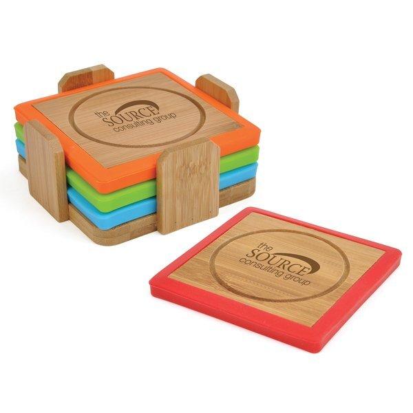 Bamboo & Silicone Coaster Set