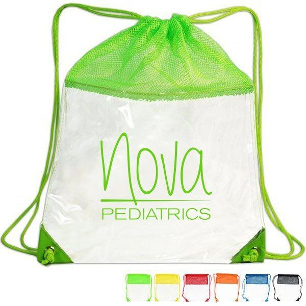 Clear Mesh Drawstring Backpack