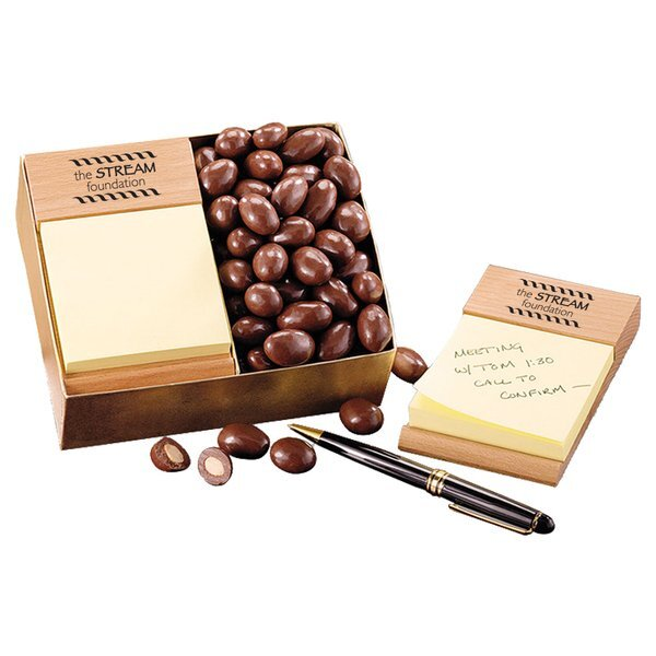 Beech Wood Post-It® Note Holder with Chocolate Covered Almonds