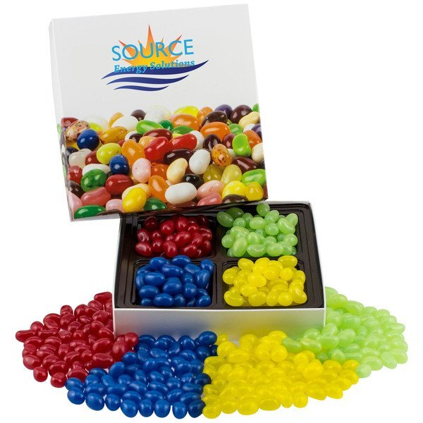 Square Custom Candy Box w/ Corporate Color Jelly Beans