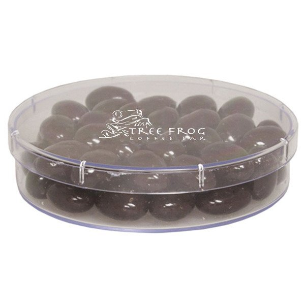 Large Round Candy Container - Chocolate Covered Almonds