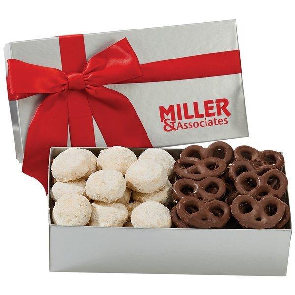Executive Box w/ Almond Tea Cookies & Mini Chocolate Pretzels