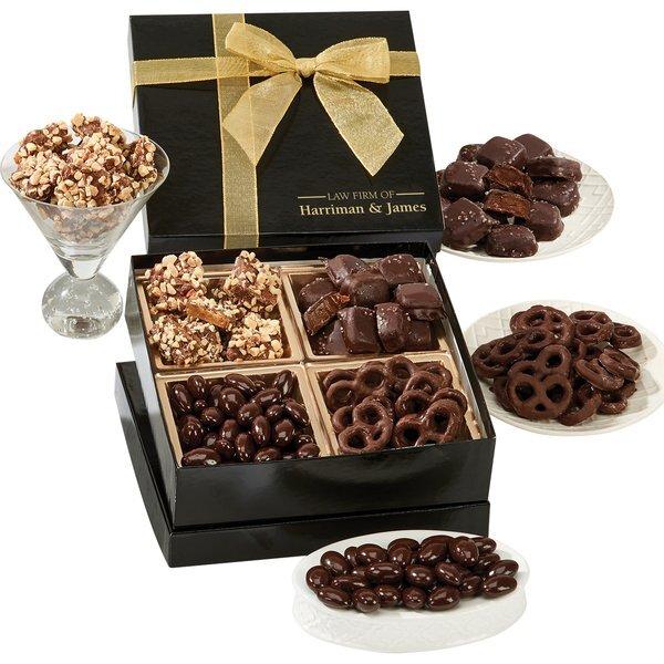 Chairman Box w/ Chocolate Covered Almonds, Sea Salt Caramels, Almond Butter Crunch & Mini Chocolate Pretzels