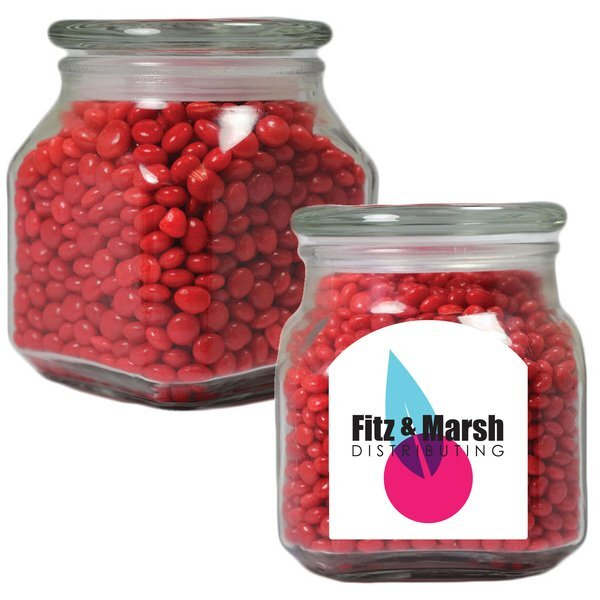 Red Hots in a Medium Square Apothecary Jar