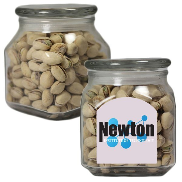 Pistachios in a Medium Square Apothecary Jar