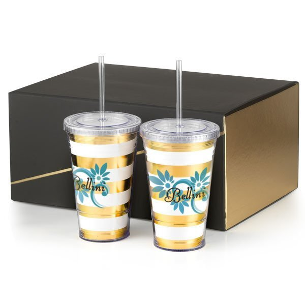Slurpy Plastic Tumbler Gift Set with Foil Insert, 16oz w/ Full Color Imprint