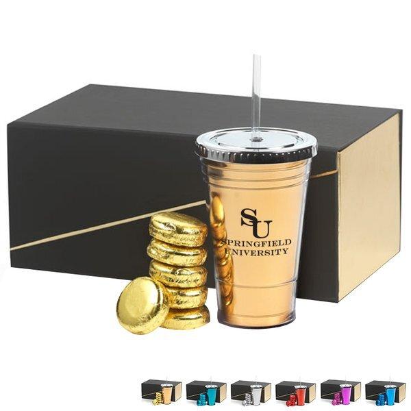 Metallic Slurpy Plastic Tumbler & Chocolate Covered Oreo® Gift Set, 16oz