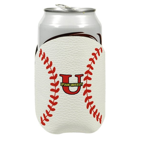 Stiched Leather Baseball Can Cooler