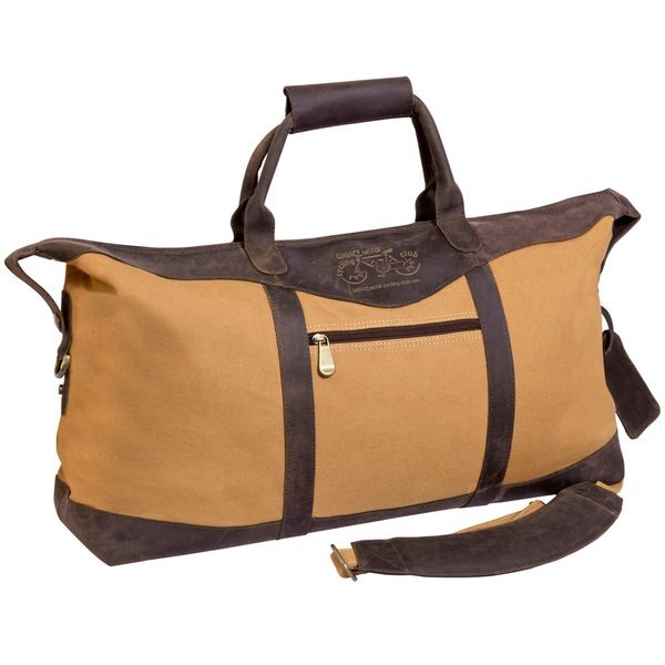 "Utah Canyon Buffalo Leather and Canvas Duffel Bag, 22"""