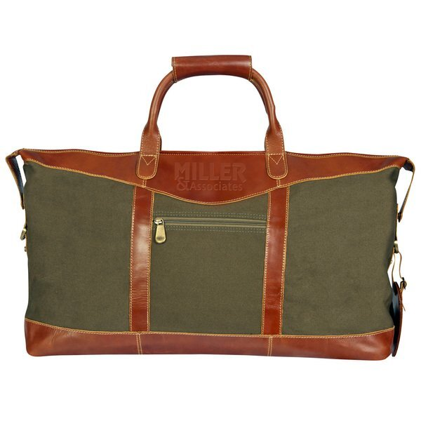"""Pine Canyon Buffalo Leather and Canvas Duffel, 22"""""""