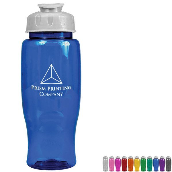 Transparent Grip Poly-Pure Sport Bottle, 27oz. - Flip Top Lid