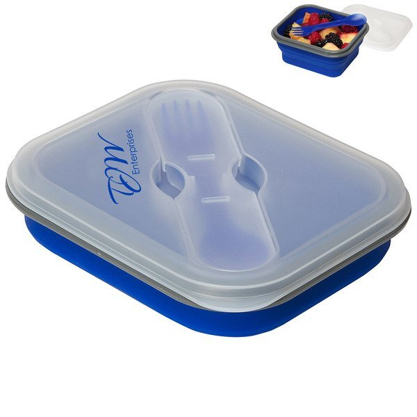 Rumple Silicone Collapsible Lunch Box w/ Fork & Spoon