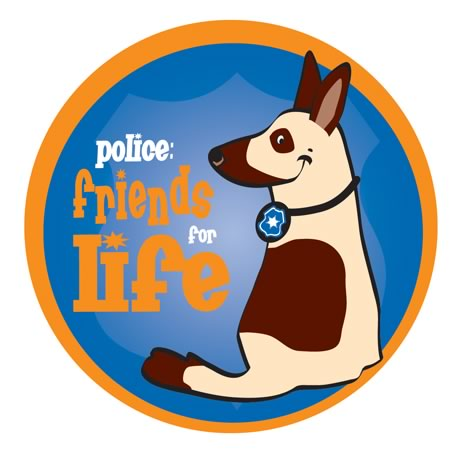 Friends for Life Police Dog Sticker Roll, Stock