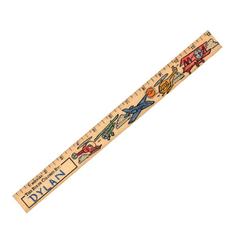 "Color-Me Natural Finish Ruler, 12"" - Airplanes & Helicopters Theme"