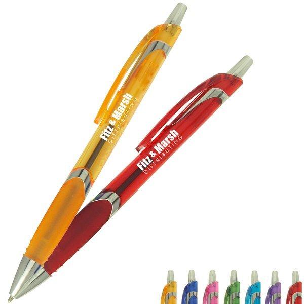 Solana Translucent Barrel Ballpoint Pen w/ Chrome Accents