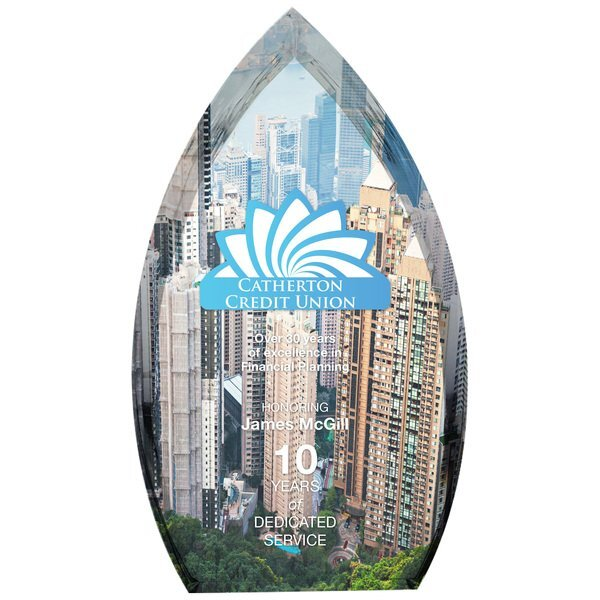 "Enterprise Teardrop Acrylic Award, Full Color, 5"" x 9"""