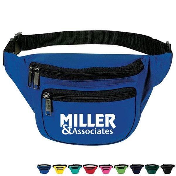 Three-Zipper 600D Polyester Fanny Pack