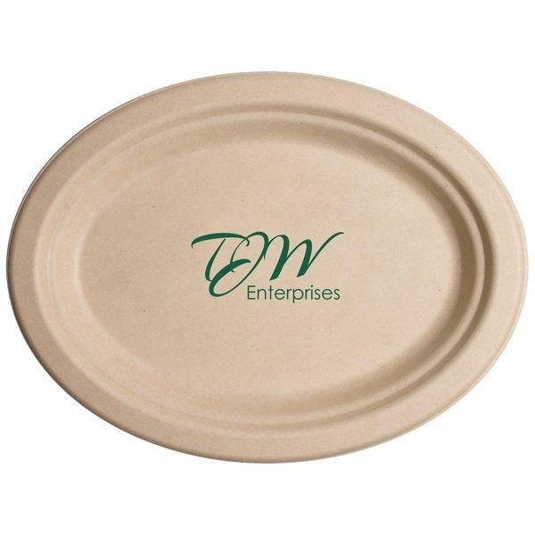 "Biodegradable Oval Kraft Paper Plate, 10"""