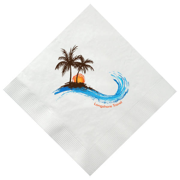 White Luncheon Napkin, 3 Ply, Full Color