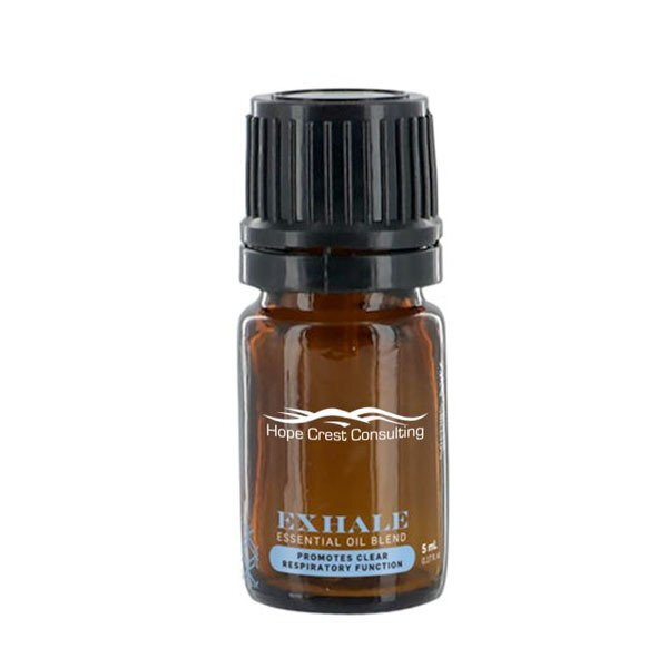 Exhale (Eucalyptus & Peppermint) Essential Oil Mini Amber Dropper Bottle, 5ml