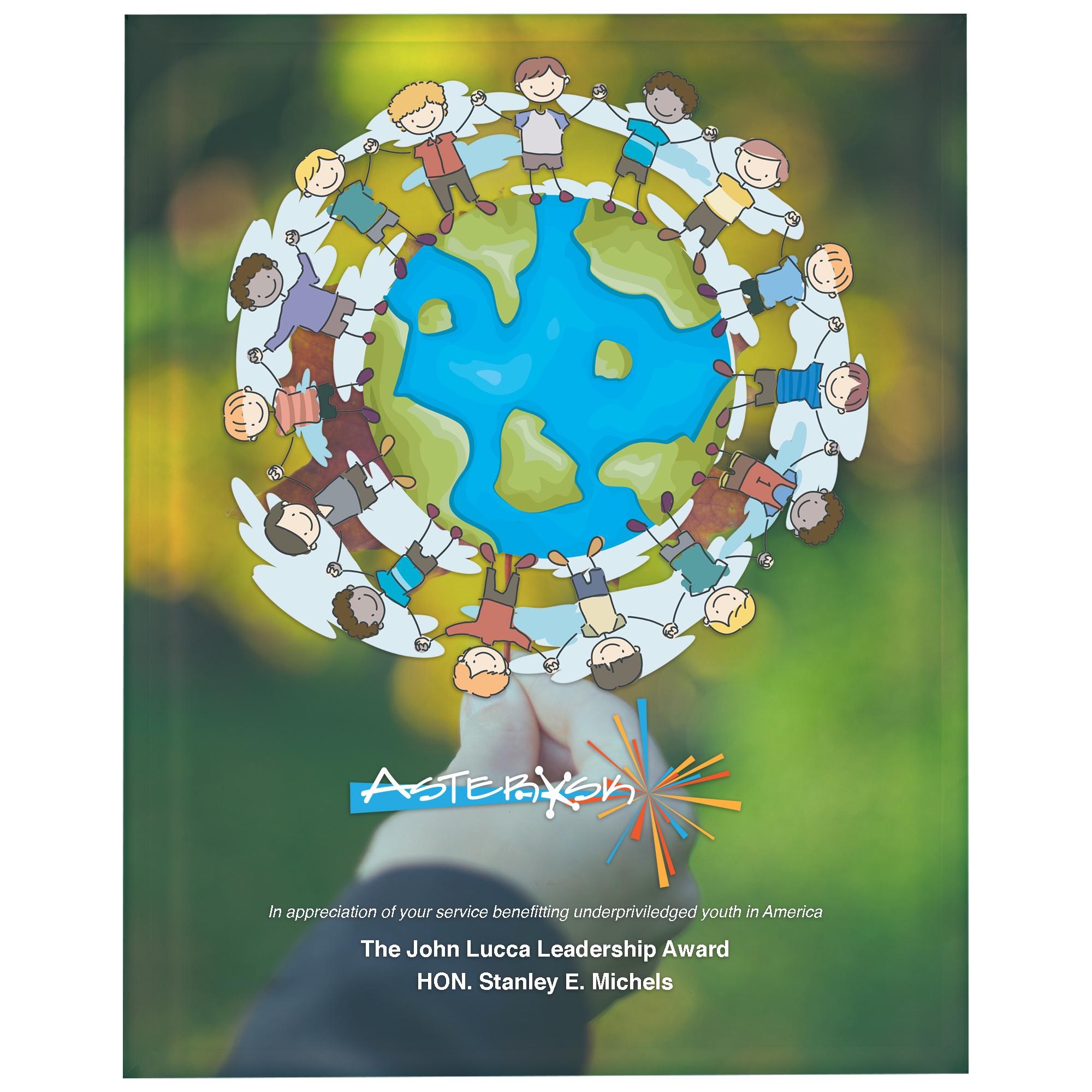 """Radiant Trillinium Jade Glass Award Plaque, 8"""" x 10"""""""