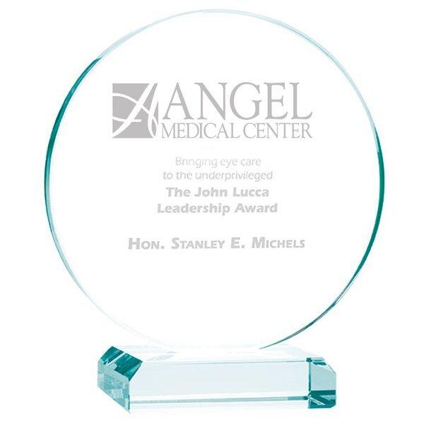"Round Jade Glass Award, Large, 6-1/2"""