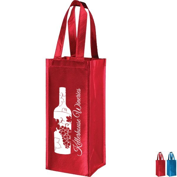 Metallic Laminated Single Bottle Non-Woven Wine Tote