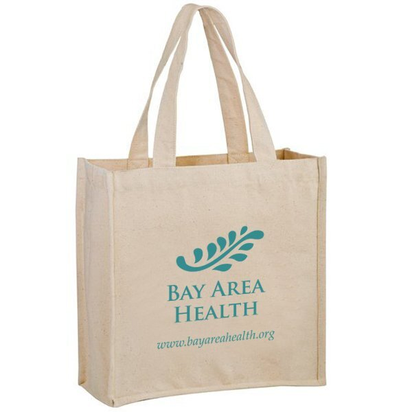 Heavyweight Cotton Canvas Grocery Tote with Two Bottle Holders