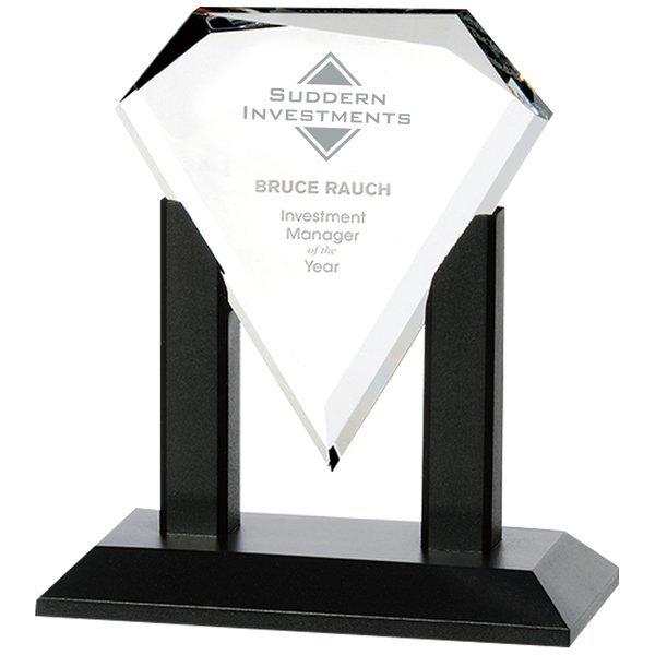 "Premiere Starfire Glass Award with Black Wood Base, 7"""