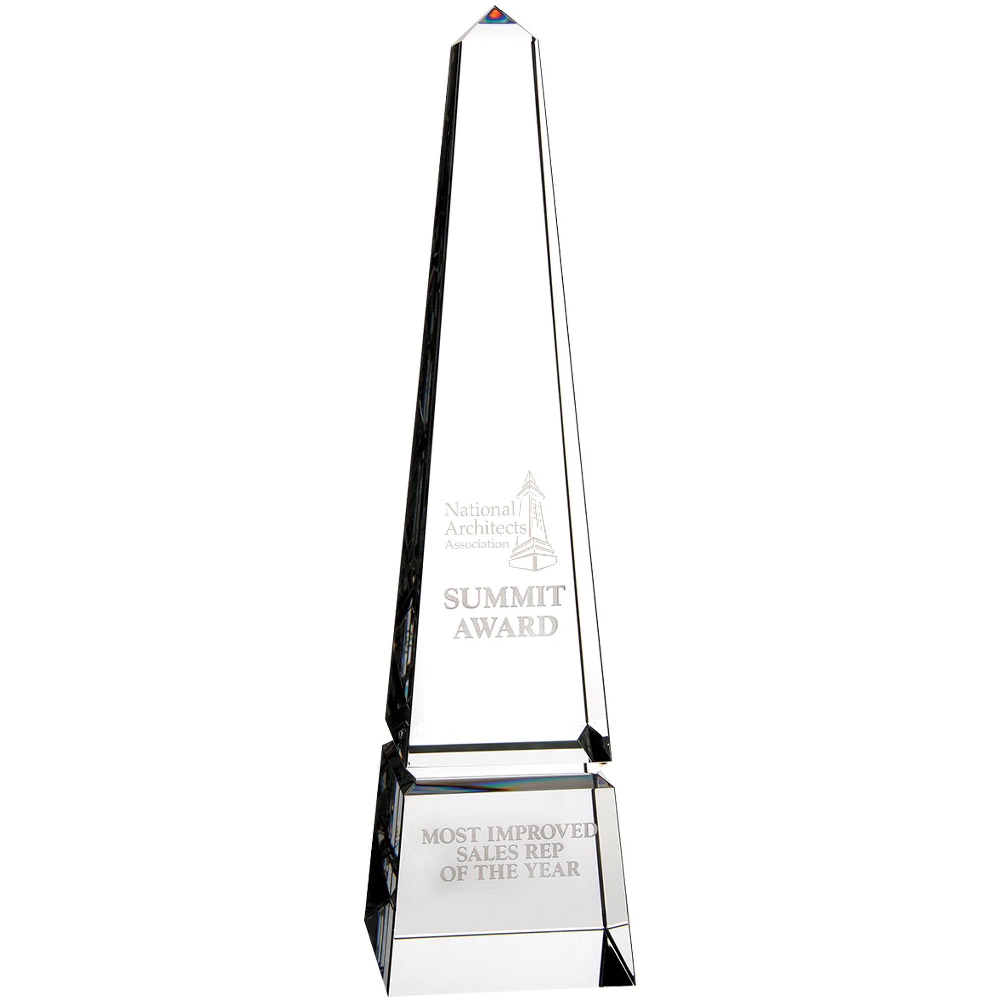 "Barclay Obelisk Crystal Award, 10"""