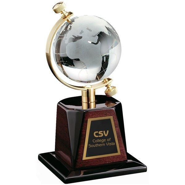 "Globe Crystal Award with Wood Base, 8"""