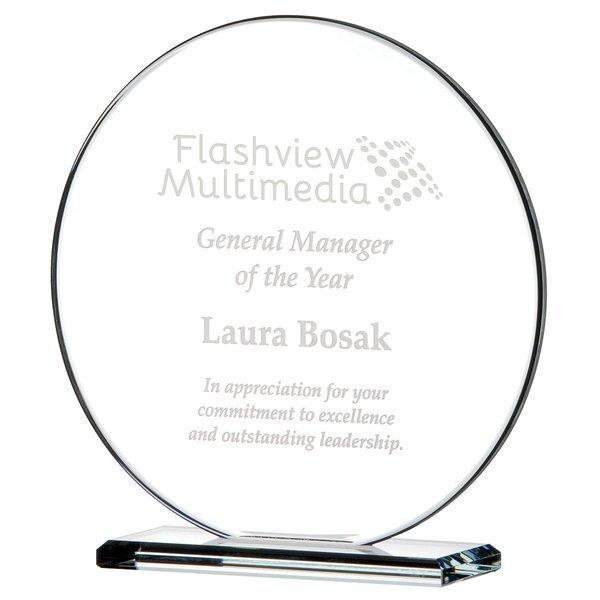 "Round Gem Cut Starfire Glass Award, Medium, 7-1/4"""