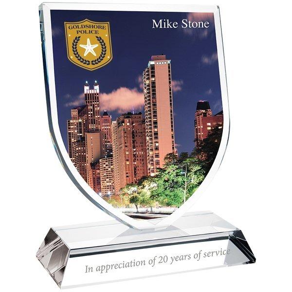 "Shield Crystal Award, Full Color, 7-1/2"""